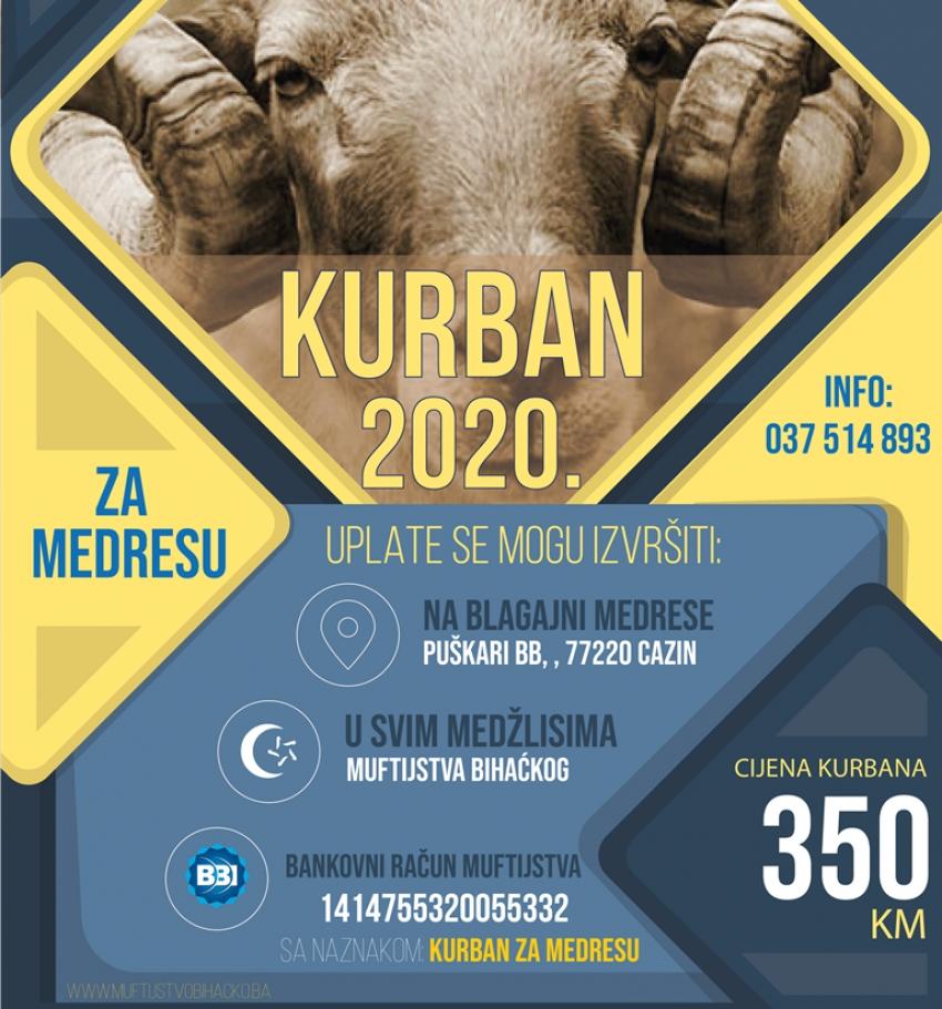 """Akcija """"Kurban 2020"""" za potrebe medrese """"Reis Džemaludin-ef. Čaušević"""" u Cazinu"""