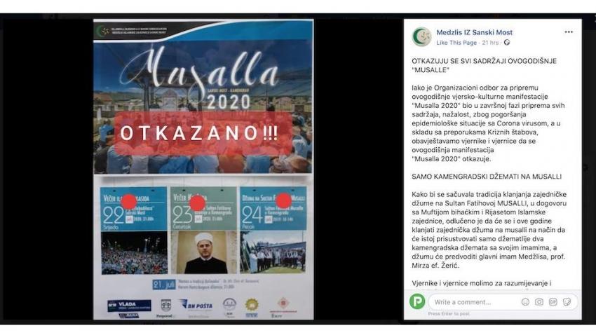 """Otkazana manifestacija """"Musalla 2020"""" u Sanskom Mostu"""